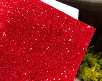 "Rudolph Red 8""x 11"" chunky glitter fabric sheet with white twill back"