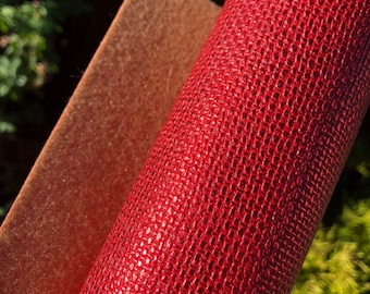 "NEW! Metallic Red Stitches 8""x11"" embossed faux leather fabric sheet with soft brown back"