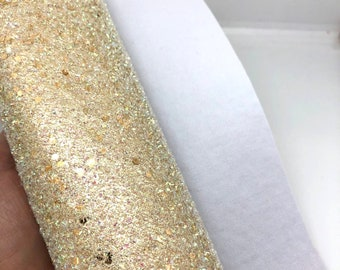 "NEW! Light Gold Sugar Cookie 8""x11"" chunky tinsel glitter with soft knit backing"