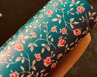 "NEW! Teal Rose Bud 8""x11"" faux leather fabric sheet on soft brown backing"