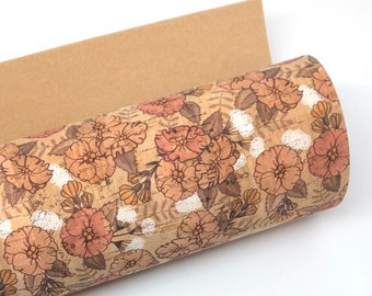 Peach and Coral Florals on Thick Cork Fabric 1.0MM