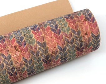 Colorful braids THICK cork fabric 1.0MM