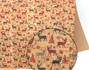 Deer and Trees THICK Cork Fabric 1.0MM