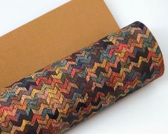 Multicolored Zig Zag on THICK Cork Fabric 1.0MM