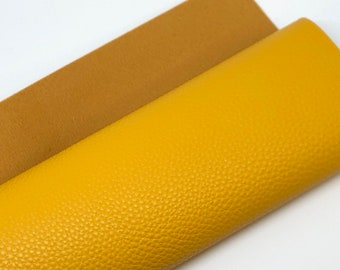 """Golden Mustard 8""""x11"""" litchi faux leather on soft brown back 1mm"""