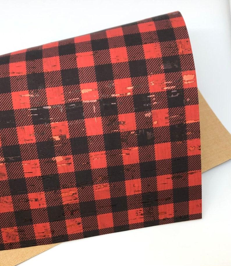 Buffalo Plaid With Metallic Splash Cork Fabric 0.8mm New