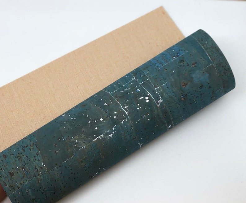 Light Turquoise with silver streaks  Cork Fabric 0.85mm
