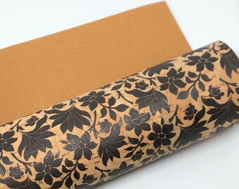 Thicker Backing Black Tropical Cork Fabric 1.0mm