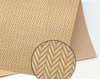Brown Herringbone Pattern on Vanilla Cork Fabric 0.9mm
