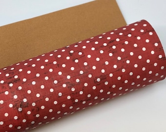 Red and white Dots THICK Cork Fabric 1.0MM