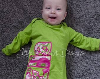 CUSTOM Appliqué Name Sleep Gown, custom name, long sleeve, any color, gender neutral  - great for any little one