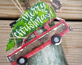 Christmas station wagon ornament, hand painted ornament for Christmas