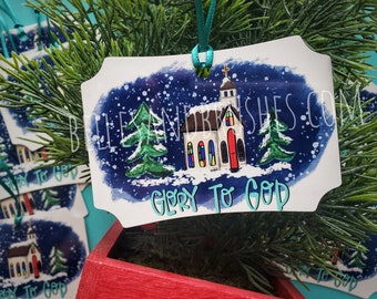 Glory to God Christmas ornament, lightweight metal ornament, church art