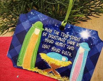 nativity Christmas ornament, Baby Jesus ornament, Manger scene ornament