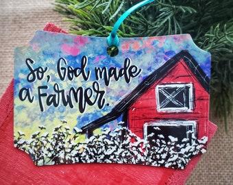 Farmer Christmas gift, God made a farmer, cotton boll farm art, farmers art, farmer Christmas ornament