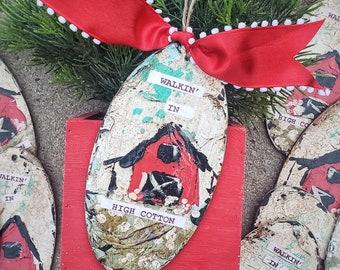 red barn Christmas ornament, cotton ornament, farmer ornament, hand painted ornaments