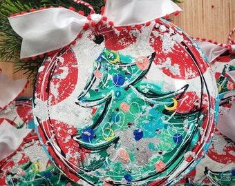 Confetti Christmas tree ornaments, hand painted Christmas ornaments