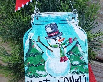 Mason jar snowglobe Christmas ornament, hand painted snowman ornament, Christmas ornament