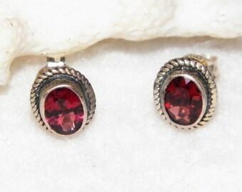 Sterling Silver Garnet Earrings - Red Gemstone Earrings - January Birthstone Stud Earrings