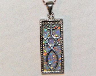 Sterling Silver Israeli Pendant - Vintage Opal Pendant With Menorah, Star Of David and Ichthys - Jewish - Christian -Healing Stone Pendant