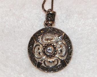 Marcasite pendant etsy sterling silver necklace tribal style pendant old estate pendant celtic style necklace sterling silver pendant marcasite pendant aloadofball Choice Image