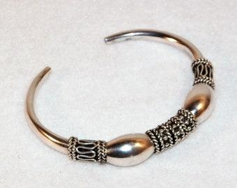 Vintage Sterling SIlver Boho Style Cuff, Gypsy Style Sterling Silver Bracelet
