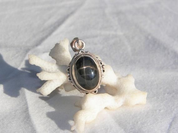 Sterling Silver Black Diopside Pendant, Black Star