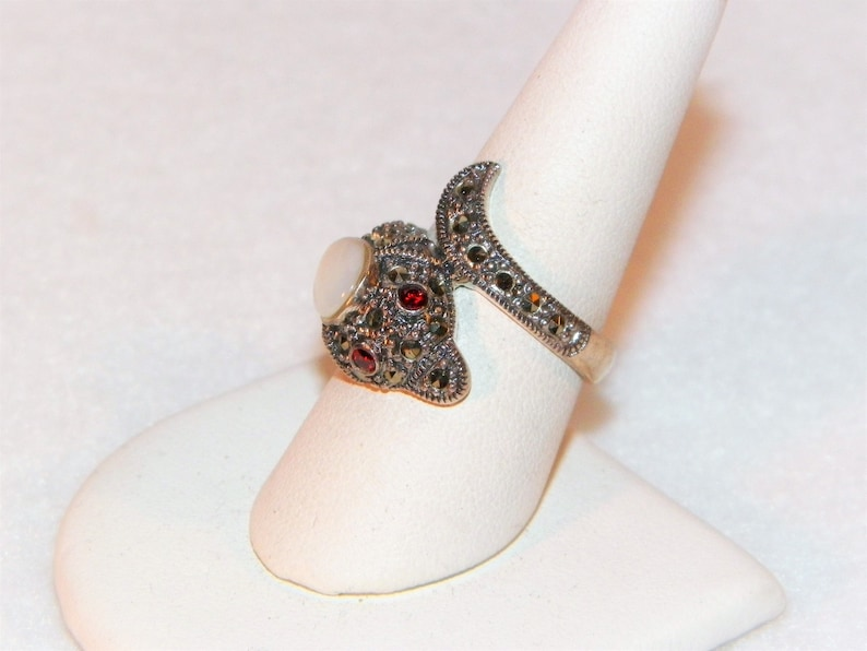 Size 7 34 sterling silver estate ring Indian Style Snake Ring With Gemstones, Snake Ring With Mother Of Pearl And Marcasites