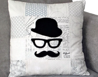 Moustache Cushion Cover, Handlebar Moustache, Bowler Hat Guy, Patchwork, Housewarming Gift, Vintage Cushion Cover, Spectacle Frames, Geeky
