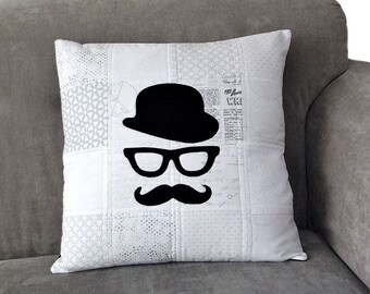 Moustache Cushion Cover, Quilted Applique Cushion Cover, Bowler Hat, Geek Glasses, Luxury Pillow, Fathers Day Gift, Vintage Cushion Cover,