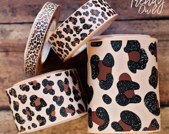 "3/8"", 7/8"", 1.5"", 3"" Glittered Leopard Print - U.S. DESIGNER - High Quality Grosgrain Ribbon - 5yd Roll"