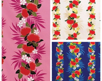 Tropical Hawaiian Ohia Lehua Floral Stripe Fabric