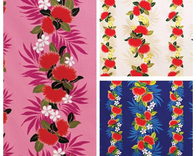 Tropical Hawaiian Ohia Lehua Floral Stripe Fabric