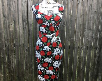 Clara Dress in Skulls & Roses Fabric