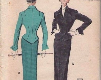 Butterick 5424 Vintage Reproduction Skirt Suit and Blouse Circa 1950 in Choice of Fabric