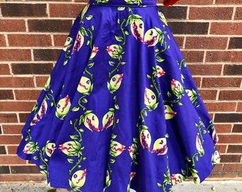 Audrey II Venus Flytrap Full Circle Skirt with Pockets