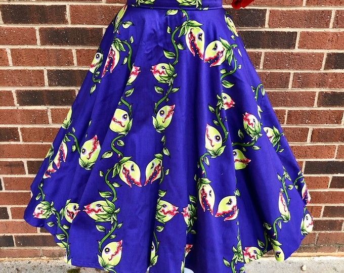 Audrey II Venus Flytrap Full Circle Skirt with Pockets
