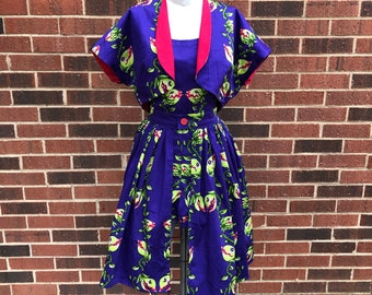 Audrey II Three-Piece Pinup Playsuit, Skirt, and Bolero in Venus Flytrap Stretch Cotton Sateen