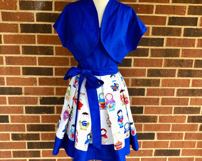Jessi Dress in Russian Doll Matroyshka Fabric with Bolero