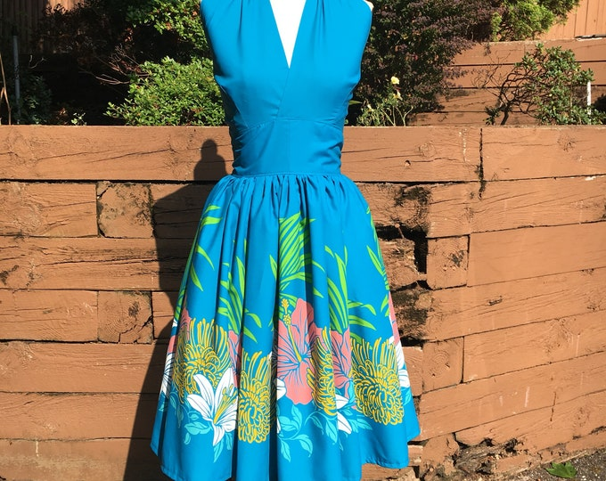 Blue Hibiscus Border Halter Tiki Dress