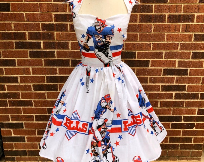 Ariene Dress in Vintage Buffalo Bills Bedsheet
