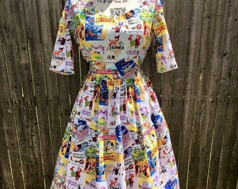 3/4 Sleeve Dress Made with Classic Disney Posters Fabric