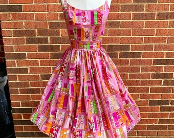 Mystery Retro Swing Dress with Pockets in Suprise Fabric