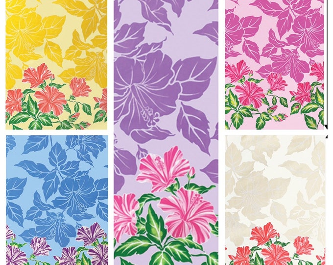 Tropical Hawaiian Hibiscus Silhouette Tiki Border Print Fabric