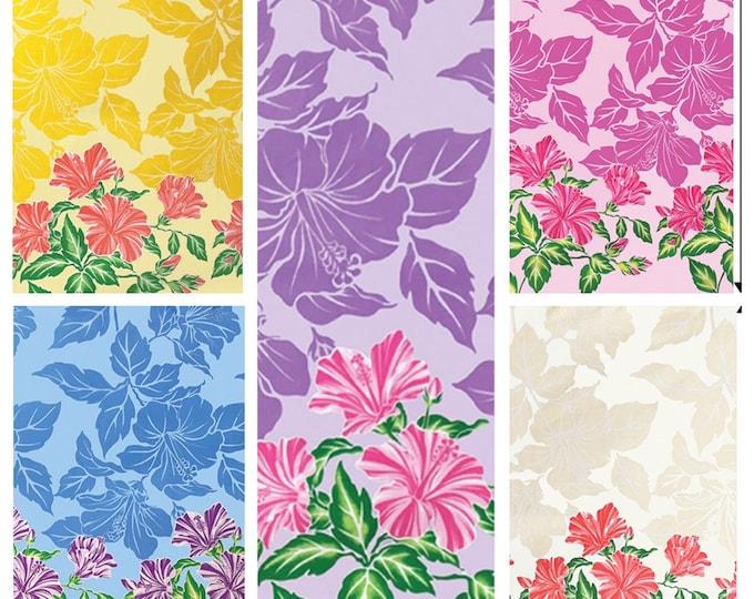 Tropical Hawaiian Hibiscus Silhouette Tiki Border Print Fabric