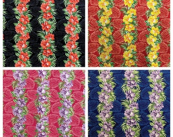 Tropical Hawaiian Monstera Hibiscus Stripe Fabric