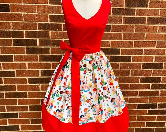 Jessi Dress in Michael Miller Retro Candy Shop Fabric with Sash