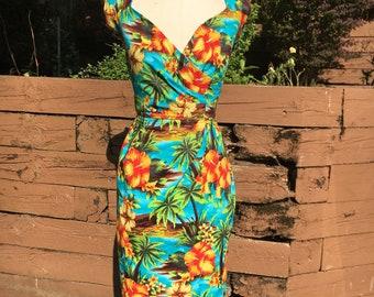 Dizzy Dress in Turquoise and Orange Hibiscus Fabric
