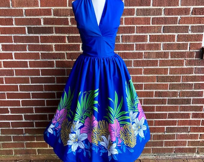 Daniela Crossover Halter Dress in Tiki Border Fabric