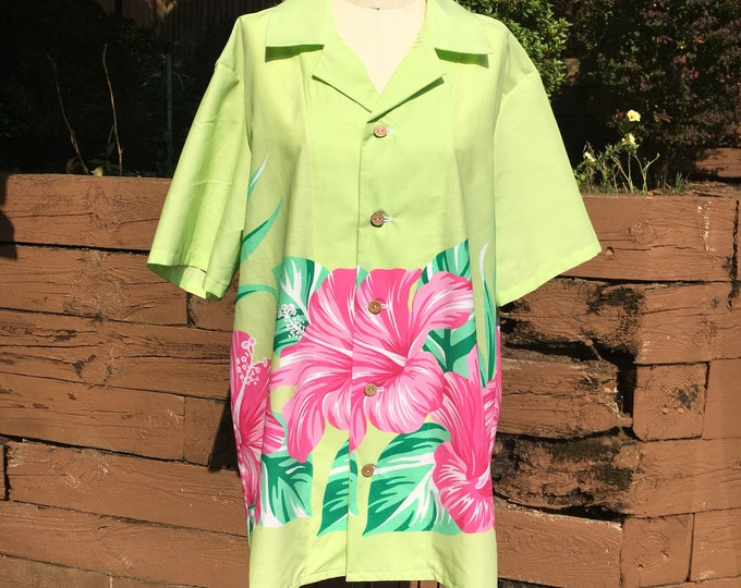 Lime Green Pink Hibiscus Tiki Button Down Shirt